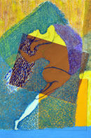 Dance Oil Pastel and Paper Collage