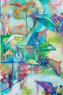 Abstract and colorful umbrella courtyard scene Oil on Linen