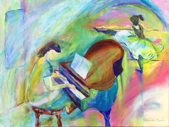Piano player and ballet dancer painting