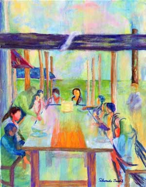 people hanging out together painting