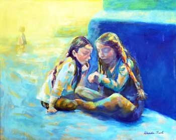 Two Girls Sitting and Talking