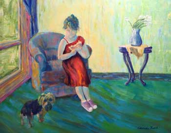 Girl leaning on a chair next to a dog