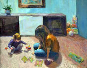 Mother and daugther playing