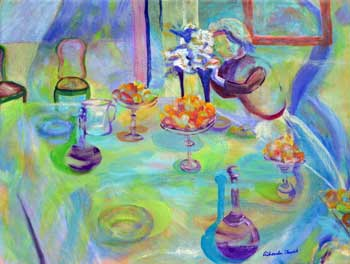 A Woman Setting the Table