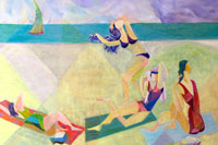 Four bathing beauties at the beach Oil on Linen