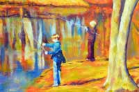 Boys Fishing Oil on Canvas