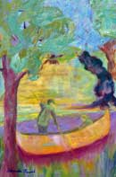 Two boys canoeing through the woods Oil on Canvas