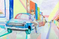 A man standing against a parked car on a street Oil on Canvas
