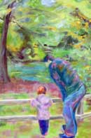 Father and Daughter Oil on Canvas