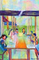 Outdoor Gathering Oil on Canvas