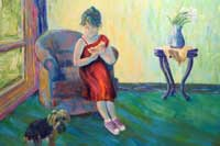 Girl leaning on a chair near a dog Oil on Canvas
