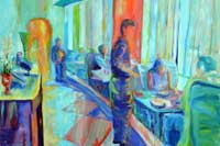 A man stadning by a table where people are eating Oil on Canvas