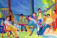 Hanging with the Guys Oil on Canvas