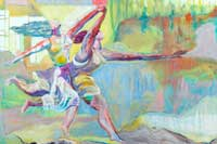 Two women dancing against a colorful background painting