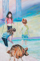 Three kids and a turtle by the pool Oil on Canvas