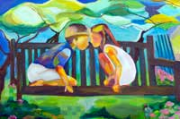 Kids on a Bench Oil on Canvas