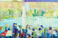 People having lunch in a restaurant by the lake Oil on Canvas
