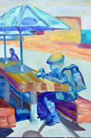 Man with a Camera Oil on Canvas