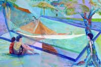People spending time outdoors by a hammock Oil on Canvas