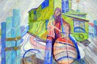 A cellist playing music in the city oil on Canvas