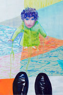 Little boy standing in front of a Man Oil on Linen