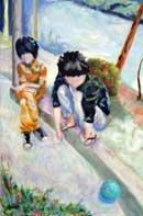 Two boys sitting on the stoop with a ball Oil on Canvas
