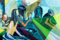 people sitting watching and waiting Oil on Linen