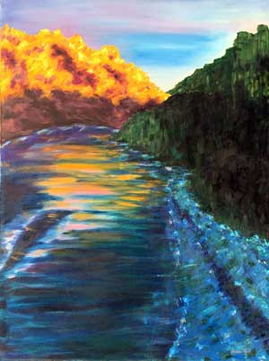 The River beside a mountain painting