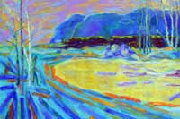 Logs in the Lake Oil on Canvas