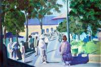 Town Square Oil on Canvas