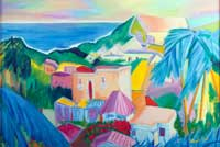 Tropical Village Oil on Canvas
