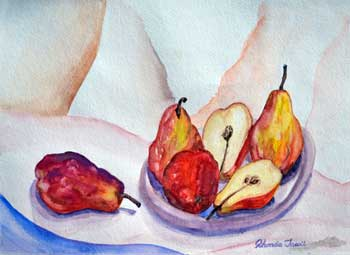 Pears on a tablecloth