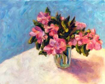 Pink Flowers in a vase sitting on a table painting