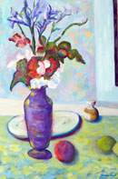 Irises and Fruit Oil on Canvas