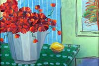 Poppies in Bucket Oil on Canvas