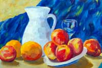 White Pitcher with Fruit Oil on Canvas